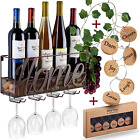 Wall Mounted Wine Rack Bottle Glass Holder Cork Storage Store Red White
