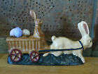 Primitive Rabbit Easter Bunny pulling Cart w Eggs Chocolate Mold Inspired Figure