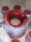 Vintage Fenton Cranberry Hobnail Pitchers And Cups Set No Cracks Or Chips
