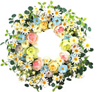 24 Artificial Flower WreathDaisy and Rose Wreath Colorful Spring Summer