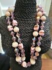 Vintage Double Strand Pink White Molded Glass Bead AB Crystal Flower Necklace