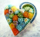 Large Blue Crystal  STERLING SILVER MURANO MILLEFIORI Heart Necklace Pendant