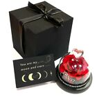 Preserved Real Rose In Heart Glass Dome For Anniversary Birthday Wedding Gift