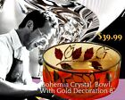 Vnt Czech Bohemian Amber Crystal Glass Gold Enamel Leaves Footed Bowl