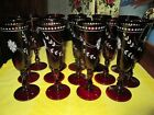 14 Crystal Champagne Flutes Red Cut to Clear 8 3 4 Tall Bohemian Style Unmarked
