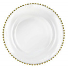 Tiger Chef Glass Chargers for Dinner Plates Round Charger Plates Gold Beaded