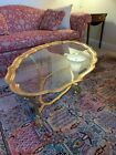 La Barge Brass  Glass Scalloped Top Coffee Table made in Italy