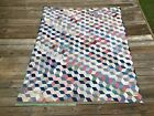 Antique Vintage Quilt TOP Tumbling Blocks Red Blue and White Homespun material
