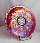 Fenton 5487 RC Red Carnival glass Holly 10 Plate Frank M Fentons 85th Birthday