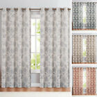 Floral Scroll Printed Linen Window Curtains Grommet Top Flax Textured 2 Panels