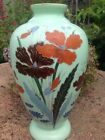 Large Antique Victorian Hand Painted Green Glass Opaline Opalescent Glass Vase