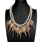 2 Strands Freshwater Cultured White Pearl Sea Shell Statement Necklace 18