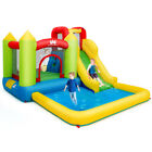 Inflatable Bounce House Water Slide Jump Bouncer w Climbing Wall and Splash Pool