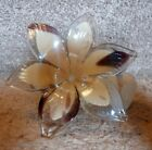 Murano Crystal Glass Flower with Twisted Stem Made In Italy Tan White  Amethyst