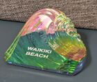VTG Waikiki Hawaii Prism Wave Color Changing Crystal Paperweight Rainbow Glass