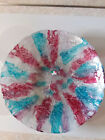 Beautiful Large Decorative Art Glass Blue and Red Platter 16 Diameter Italy
