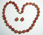 Venetian Murano Red Glass Beads with Copper Flakes Necklace  Clips Earrings