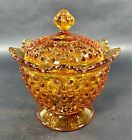 Vintage Fenton Amber Hobnail Covered Candy Nut Dish