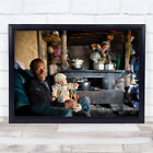 Looked After Tibet Man And Baby Cooking With Pots Wall Art Print