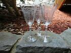 Lot Of Three Gorgeous Long Stem Etched Crystal Wine Glasses Fostoria Corsage