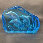 3 DOLPHINS PAPERWEIGHT ETCHED BLUE ART GLASS CRYSTAL