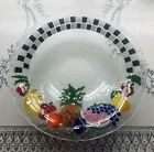 Vintage Retired Peggy Karr Fused Art Glass X Large 13 Checkerboard Fruit Bowl