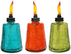 TIKI 6 Inch Molded Glass Table Torch Red Green  Blue Set of 3