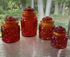LE Smith Red Amberina Moon and Stars Glass Canisters Set Of 4 Mid Century MCM