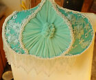 VICTORIAN STYLE BED LAMP GREEN ALL HAND MADE SILK MATERIAL GLASS FRINGE