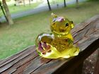 Yellow Fenton Art Glass Sitting Cat Figure Painted  Signed by Artist CSmith