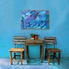 Unique one of a kind original large blue abstract mixed media painting on canvas