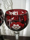 Vintage Bohemian Czech Ruby Red Cut to Clear Wine Glasses 825 Tall Set of 6