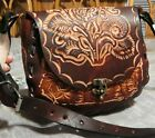 New embossed hand tooled crossbody latigo leather purse mwith brown roses