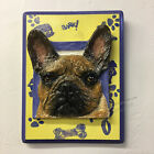 French Bulldog Ceramic bas relief dog Tile Mounted on Painted wood Alexander Art