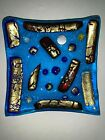Vtg MURANO Italy Fused Glass Plate Tray Trinket Dish 55 Square Bright Colors
