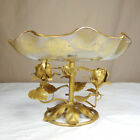 Vintage Metal Gold Colored Tole Roses With Ruffled Gilt Glass Bowl Italy