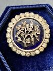 Antique Bristol Blue Glass And Paste Floral Silver Brooch