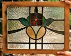 Vintage Leaded Stained Glass Floral Colourful Window Panel Red Green Yellow