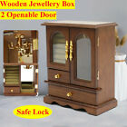 Vintage 2 Drawers 2 Open Glass Door Large Wooden Jewelry Storage Display Box USA