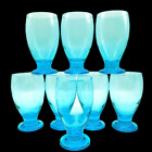 8 LOT AQUA TURQUOISE SKY BLUE FOOTED WATER GOBLET DRINKING GLASSES 12 oz SET