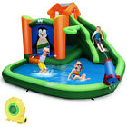 Inflatable Water Park Slide Bouncer w Splash Pool Water Cannon and 735W Blower