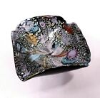 Vintage Art Glass Trinket Dish Black and Silver Hand Blown Studio Crafted
