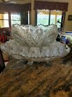 Vintage LE smith Crystal Punch Serving bowl platter on silver stand with 15