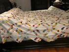 Vintage Hand Stitched Wedding Ring Quilt Scalloped Edges unfinished no backing