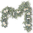 Artificial Eucalyptus Garland with White Rose 66 Feet Artificial Floral Vines