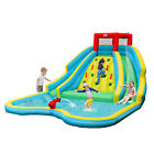 Inflatable Mighty Water Slide Park Bouncy Splash Pool Climbing Wall w Two Slide