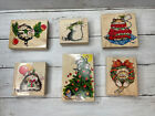 Penny Black Rubber Stamp Lot 6 Cats Kitty Christmas Margaret Sherry Collection