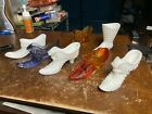 Vintage Lot Of 7 Glass Shoes  Boots FENTON WESTMORELAND GLASS WG Steampunk