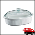 Casserole Dish Glass Cover Lid 4 Quart Baking Bakeware French Corning Ware White