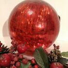 Nicole Miller Holiday Red Crackle Glass Sphere 9R LED Battery Light Decor NEW